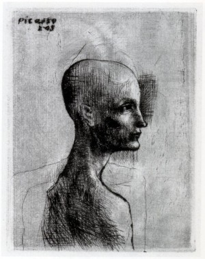 Foto: Pablo Picasso, Buste d'homme, 1905, puntasecca, mm 120x93