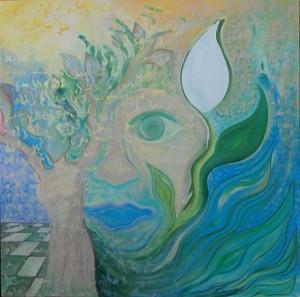 Foto: Veronika Ban, Just Like a Poetry, acrilico e vernice su tela, 100x100x3cm, Berlino, Marzo 2013