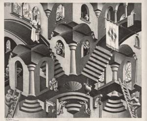Foto: Maurits Cornelis Escher, Concavo e convesso / Convex and Concave, 1955, Xilografia, 27,50x33,50 cm., Collezione Giudiceandrea Federico, in mostra al Palazzo Albergati di Bologna fino al 19 luglio 2015