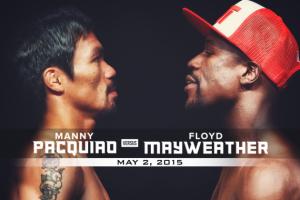 Foto: cover dell'incontro tra Floyd Mayweather e Manny Pacquiao, Las Vegas 2 maggio 2015