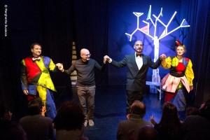 Foto: Partiture Futuriste, da sin. Marco Olivieri, Gaddo Bagnoli, Andrea Magnelli, Claudia Franceschetti, allo Spazio Scimmie Nude domenica 18 febbraio 2018